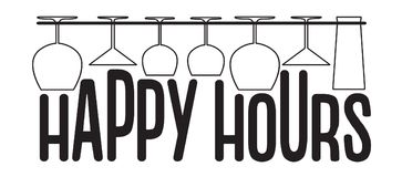 Hanging empty glasses above happy hours text. Vector bar, pub and restaurant style Royalty Free Stock Images