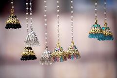 Hanging Ethnic earrings Stock Photo