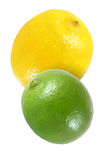 Hanging, falling, flying lemon and lime fruits isolated on white with clipping path Royalty Free Stock Photos