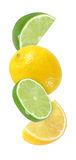Hanging, falling, flying piece lime and lemon fruits isolated Royalty Free Stock Image
