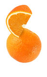 Hanging, falling, hovering and flying piece of orange fruits Royalty Free Stock Photography