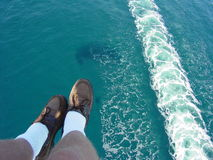 Hanging Feet Over Catalina. Parasailing Stock Photos