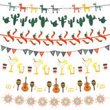 Hanging festive mexican banners, flags, garlands. Set with traditional Mexican symbols - guitar, maracas, tequila, cactus, pepper, cut out paper banners Vector Stock Photos