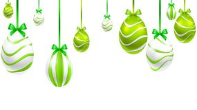 Hanging festive painted Easter eggs. Vector art illustration Stock Photo