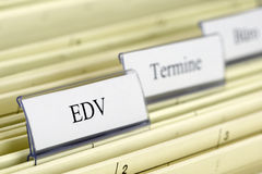 Hanging file IT - EDV. Close-up hanging files with tab IT/EDV Royalty Free Stock Photography