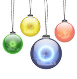 Hanging fire ball. 3D sphere with fire flames inside Royalty Free Stock Photos