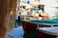 Hanging fishing nets Royalty Free Stock Photo