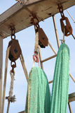 Hanging fishing nets Stock Images
