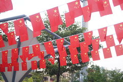Hanging five-star red flag Royalty Free Stock Image