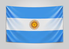 Hanging flag of Argentine. Argentine Republic. National flag concept. Stock Photo