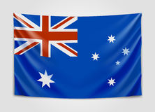 Hanging flag of Australia. Commonwealth of Australia. National flag concept. Vector illustration Stock Images