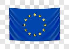 Hanging flag of Europe. European Union. European flag concept. vector illustration