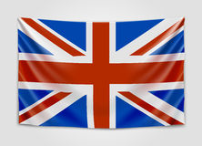 Hanging flag of Great Britain. United Kingdom of Great Britain and Northern Ireland. British national flag concept. Stock Photography