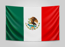 Hanging flag of Mexico. United Mexican States. National flag concept. Stock Photography