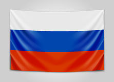 Hanging flag of Russia. Russian Federation. National flag concept. Vector illustration Royalty Free Stock Photo
