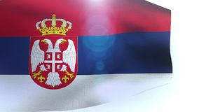 Hanging flag of Serbia waving in the wind wave. Video stock footage