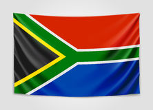 Hanging flag of South Africa. Republic of South Africa. RSA national flag concept. Stock Images
