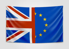 Hanging flag of the United Kingdom and the European Union. Brexit concept. stock illustration