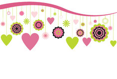 Hanging Flowers and Hearts. Flowers and Hearts hanging from a wave landscape on a white background Stock Photos