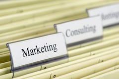 Hanging folder Marketing. Close-up of hanging file Marketing Royalty Free Stock Photography