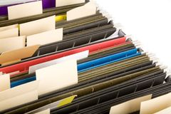 Hanging Folders and label Stock Photos