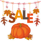 Hanging Foliage Sale Pumpkin Royalty Free Stock Images