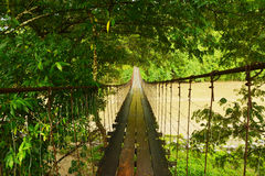 Hanging foot bridge. Stock Photo