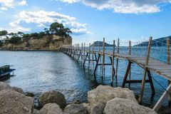 Hanging footbridge in Laganas to Cameo island, Zante, Greece. Hanging footbridge in Laganas to Cameo island royalty free stock photos