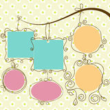 Hanging frames. Cute frames hanging, retro style Royalty Free Stock Photos