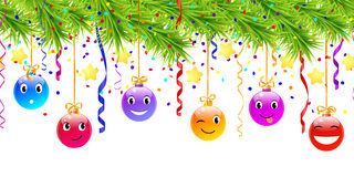 Hanging funny christmas balls Royalty Free Stock Image