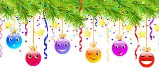 Hanging funny christmas balls Royalty Free Stock Image