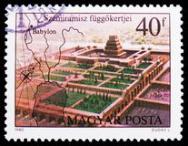 Hanging Gardens of Semiramis, Seven Wonders of the Ancient World serie, circa 1980. MOSCOW, RUSSIA - FEBRUARY 21, 2019: A stamp printed in Hungary shows Hanging stock image