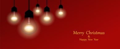 Hanging garlands of lamp on red background. Christmas lights. Merry Christmas template for greeting card stock illustration