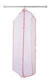 Hanging garment bag. A white hanging garment bag on a pole Royalty Free Stock Photos