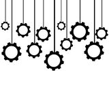 Hanging gears isolated on white background. Vector illustration.  stock illustration