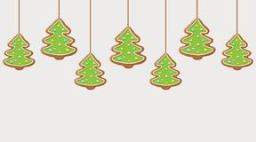 Hanging gingerbread christmas trees cookies. Festive background. Vector illustration Stock Images