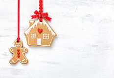 Hanging Gingerbread Man And House Cookies Stock Photography