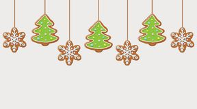 Hanging gingerbread snowflakes and christmas trees cookies. Festive background. Vector illustration Stock Photography