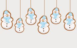 Hanging gingerbread snowmans cookies. Christmas background. Vector illustration Stock Photos