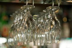 Hanging glasses royalty free stock photography