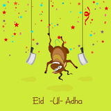 Hanging goat with choppers for Eid-Ul-Adha. Illustration of hanging goat with choppers on colorful stars decorated green background for Islamic Festival of Stock Images