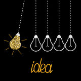 Hanging gold glitter light bulbs. Dash line. Perpetual motion. Idea concept. Royalty Free Stock Photos
