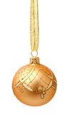 Hanging golden christmas ball with ribbon isolated Royalty Free Stock Image