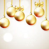 Hanging golden Christmas balls decoration. With ribbons and bows, winter vector holiday Stock Photos