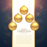 Hanging golden christmas balls festival greeting background Royalty Free Stock Photo