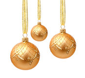 Hanging golden christmas balls with ribbon isolated Stock Photos