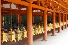 Hanging lanterns at Kasuga Shrine in Nara, Japan Royalty Free Stock Photo