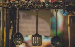 Hanging Gourmet Kitchen Rail Utensil royalty free stock photos