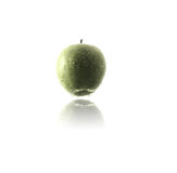 Hanging green apple. With water drops Stock Photos