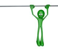 Hanging. Green cartoon guy, hanging on a bar - 3d illustration Royalty Free Stock Photos